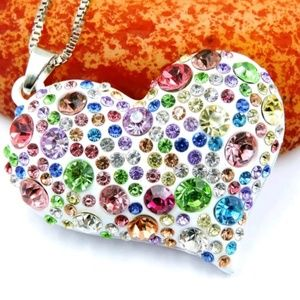 Jewelry - Multi Color Rhinestone BLING Heart Necklace